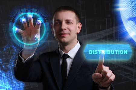 keywords link: Business, Technology, Internet and network concept. Young businessman working on a virtual screen of the future and sees the inscription: Distribution
