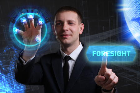 customer support: Business, Technology, Internet and network concept. Young businessman working on a virtual screen of the future and sees the inscription: Foresight Stock Photo