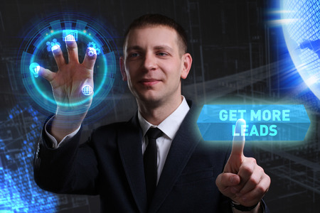 customer support: Business, Technology, Internet and network concept. Young businessman working on a virtual screen of the future and sees the inscription: Get more leads