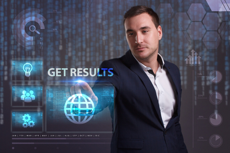 queries: The concept of business, technology, the Internet and the network. A young entrepreneur working on a virtual screen of the future and sees the inscription: Get results Stock Photo