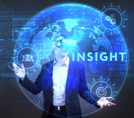 queries: The concept of business, technology, the Internet and the network. A young entrepreneur working on a virtual screen of the future and sees the inscription: Insight Stock Photo