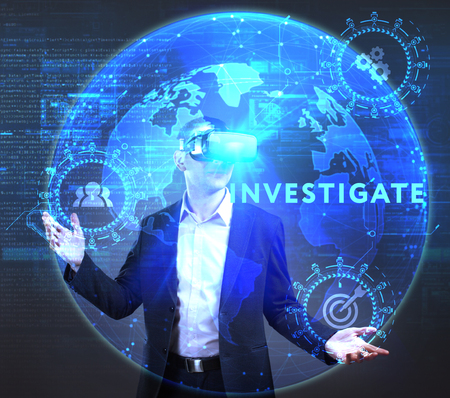 queries: The concept of business, technology, the Internet and the network. A young entrepreneur working on a virtual screen of the future and sees the inscription: Investigate Stock Photo