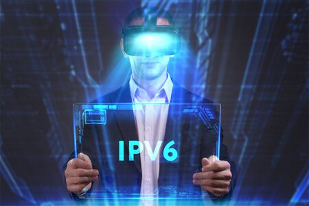 internet search: Business, Technology, Internet and network concept. Young businessman working in virtual reality glasses sees the inscription: IPv6
