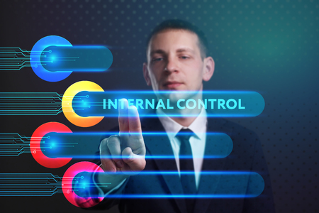 questions: Business, Technology, Internet and network concept. Young businessman working on a virtual screen of the future and sees the inscription: Internal control