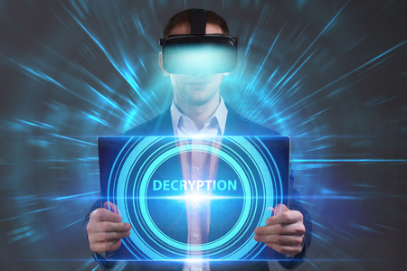 private security: Business, Technology, Internet and network concept. Young businessman working in virtual reality glasses sees the inscription: Decryption