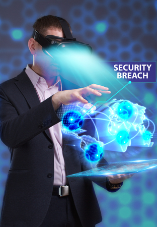 private security: Business, Technology, Internet and network concept. Young businessman working in virtual reality glasses sees the inscription: Security breach