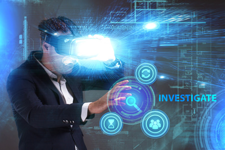questions: Business, Technology, Internet and network concept. Young businessman working in virtual reality glasses sees the inscription: Investigate