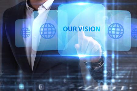 ビジネス、技術、インターネットとネットワークの概念。若い起業家は彼が必要なものを見つけました: 私たちのビジョン 写真素材