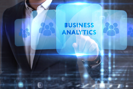 he: The concept of business, technology, the Internet and the network. The young entrepreneur has found what he needs: Business analytics