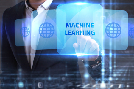 he: The concept of business, technology, the Internet and the network. The young entrepreneur has found what he needs: Machine learning