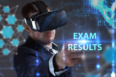 Business, Technology, Internet and network concept. Young businessman working in virtual reality glasses sees the inscription: Exam results Stock Photo
