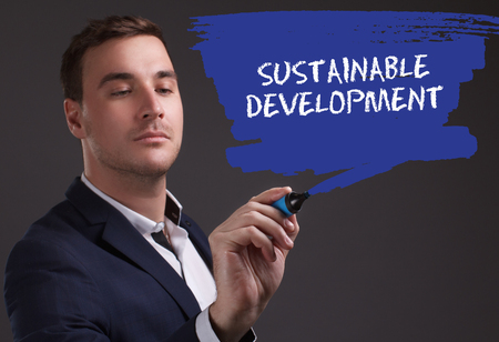 seo: The concept of business, technology, the Internet and the network. Young businessman showing inscription: Sustainable development Stock Photo