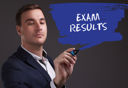 seo: The concept of business, technology, the Internet and the network. Young businessman showing inscription: Exam results Stock Photo