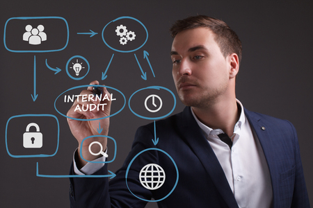 keywords: The concept of business, technology, the Internet and the network. Young businessman showing inscription: Internal audit