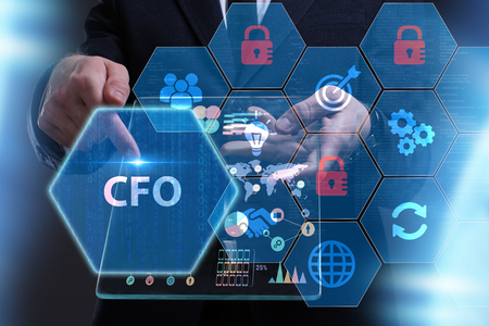 Business, Technology, Internet and network concept. Young businessman working on a virtual screen of the future and sees the inscription: CFO Imagens - 90226151