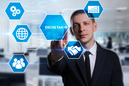 Business, Technology, Internet and network concept. Young businessman working on a virtual screen of the future and sees the inscription: Excise tax Stock fotó