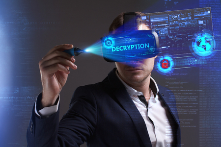 Business, Technology, Internet and network concept. Young businessman working in virtual reality glasses sees the inscription: Decryption