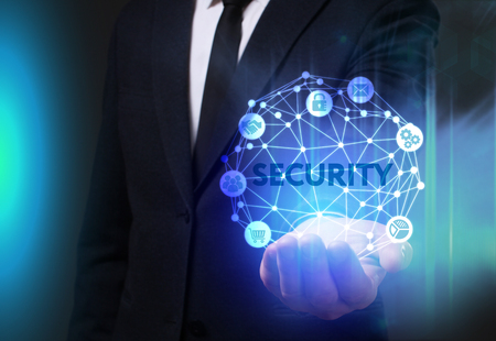 Business, Technology, Internet and network concept. Young businessman working on a virtual screen of the future and sees the inscription: Security 스톡 콘텐츠