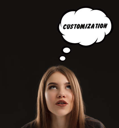The concept of marketing, technology, the Internet and the network. The young entrepreneur gets an idea: Customization