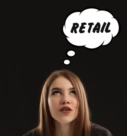 The concept of marketing, technology, the Internet and the network. The young entrepreneur gets an idea: Retail