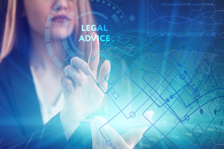 The concept of business, technology, the Internet and the network. A young entrepreneur working on a virtual screen of the future and sees the inscription: legal advice Stock Photo