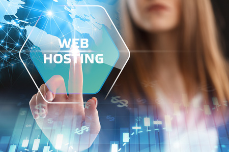 The concept of business, technology, the Internet and the network. A young entrepreneur working on a virtual screen of the future and sees the inscription: Web hosting