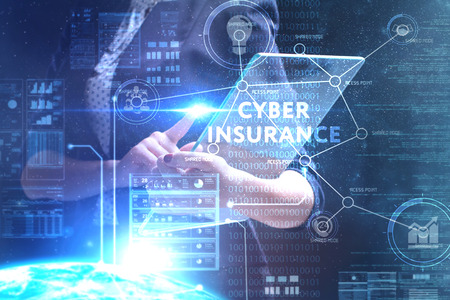 The concept of business, technology, the Internet and the network. A young entrepreneur working on a virtual screen of the future and sees the inscription: Cyber insurance Zdjęcie Seryjne