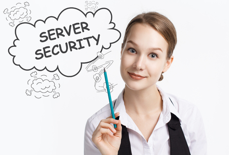 The concept of business, technology, the Internet and the network. A young entrepreneur working on a virtual screen of the future and sees the inscription: Server security Stock Photo