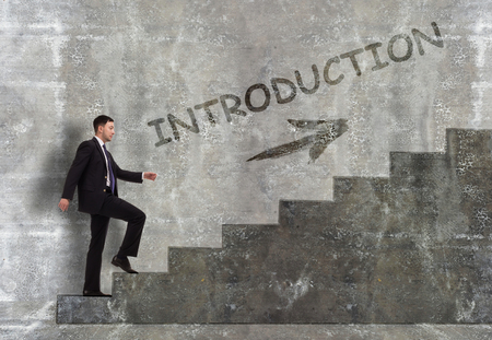 Business, technology, internet and networking concept. A young entrepreneur goes up the career ladder: introduction