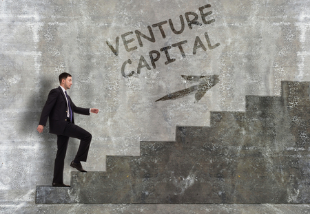 Business, technology, internet and networking concept. A young entrepreneur goes up the career ladder: Venture capital
