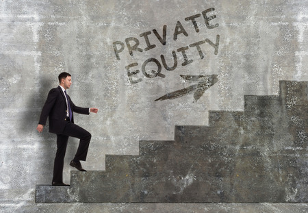 Business, technology, internet and networking concept. A young entrepreneur goes up the career ladder: Private equity