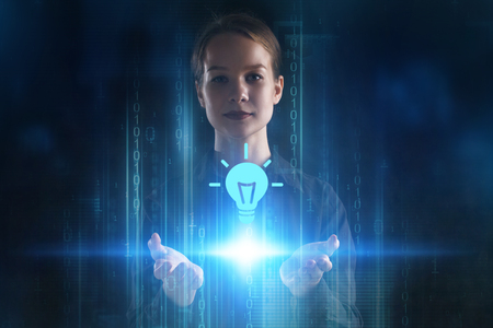 The concept of business, technology, the Internet and the network. A young entrepreneur working on a virtual screen of the future and sees the inscription: idea Stock Photo