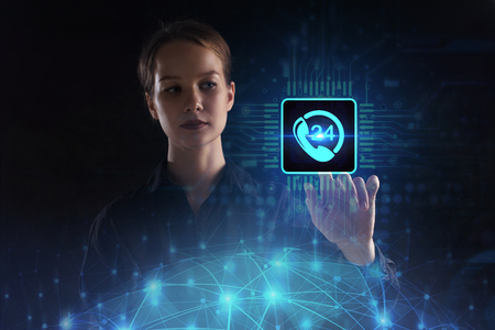 The concept of business, technology, the Internet and the network. A young entrepreneur working on a virtual screen of the future and sees the inscription: 24 call center