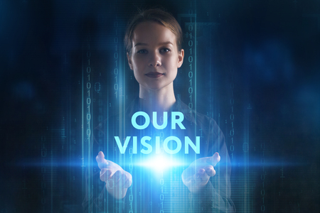 The concept of business, technology, the Internet and the network. A young entrepreneur working on a virtual screen of the future and sees the inscription: Our vision 写真素材