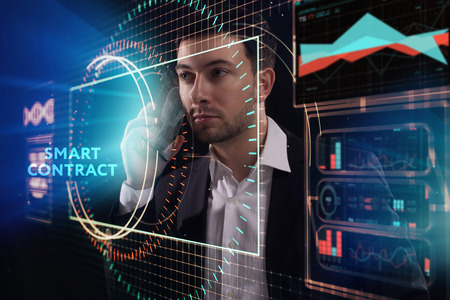 The concept of business, technology, the Internet and the network. A young entrepreneur working on a virtual screen of the future and sees the inscription: Smart contract Фото со стока - 120442892