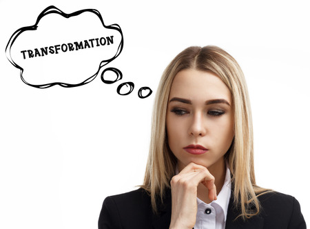 Business, technology, internet and networking concept. A young entrepreneur is thinking about the meaning of a keyword: Transformation