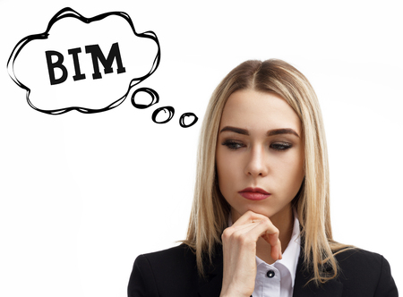 Business, technology, internet and networking concept. A young entrepreneur is thinking about the meaning of a keyword: BIM