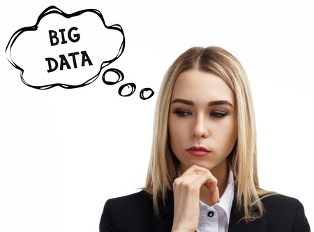 Business, technology, internet and networking concept. A young entrepreneur is thinking about the meaning of a keyword: Big data Stock Photo