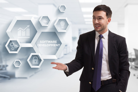 The concept of business, technology, the Internet and the network. A young entrepreneur working on a virtual screen of the future and sees the inscription: Software development