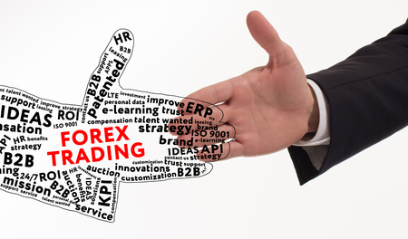 Business, technology, internet and networking concept. Young entrepreneur is committed to success using the keyword: Forex trading