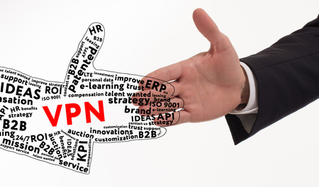 Business, technology, internet and networking concept. Young entrepreneur is committed to success using the keyword: VPN