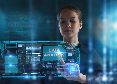 The concept of business, technology, the Internet and the network. A young entrepreneur working on a virtual screen of the future and sees the inscription: Data analysis Reklamní fotografie - 121363978