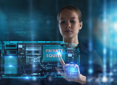 The concept of business, technology, the Internet and the network. A young entrepreneur working on a virtual screen of the future and sees the inscription: Private equity Banque d'images