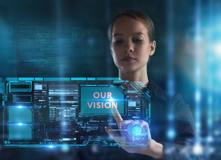 The concept of business, technology, the Internet and the network. A young entrepreneur working on a virtual screen of the future and sees the inscription: Our vision 스톡 콘텐츠