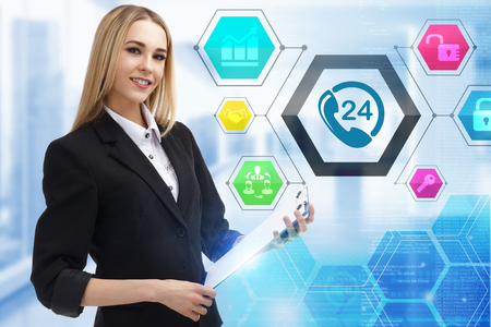 The concept of business, technology, the Internet and the network. A young entrepreneur working on a virtual screen of the future and sees the inscription: 24 hours call