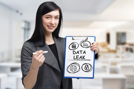 Business, technology, internet and networking concept. Young entrepreneur showing keyword: Data leak