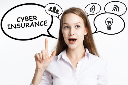 Business, technology, internet and networking concept. A young entrepreneur comes to mind the keyword: Cyber insurance