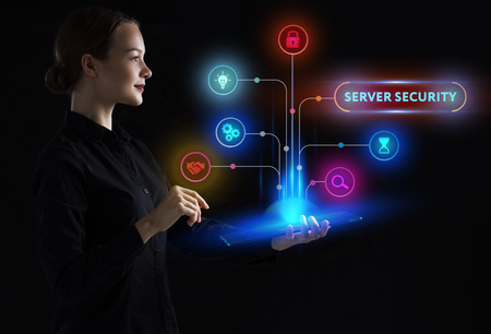 The concept of business, technology, the Internet and the network. A young entrepreneur working on a virtual screen of the future and sees the inscription: Server security