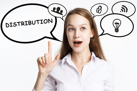 Business, technology, internet and networking concept. A young entrepreneur comes to mind the keyword: Distribution