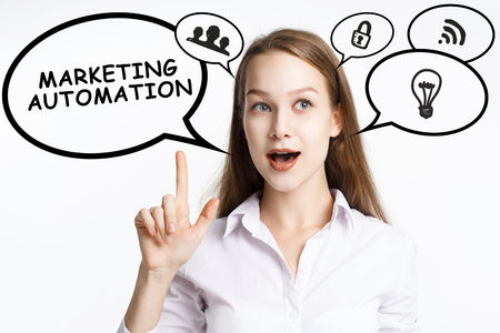 Business, technology, internet and networking concept. A young entrepreneur comes to mind the keyword: Marketing automation Stock Photo